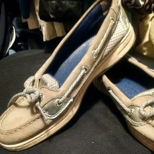 Sperry Top Siders 6.5 Silver & Grey Suede